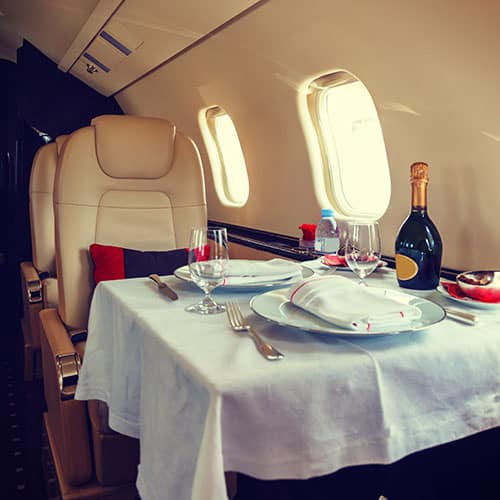 Flying and Dining in First Class