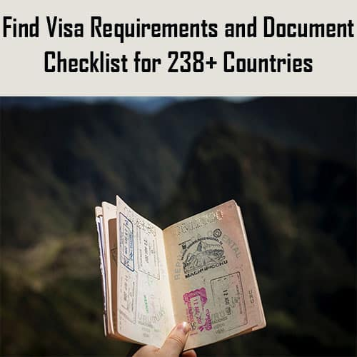 Find visa requirements and document checklist for 238+ countries